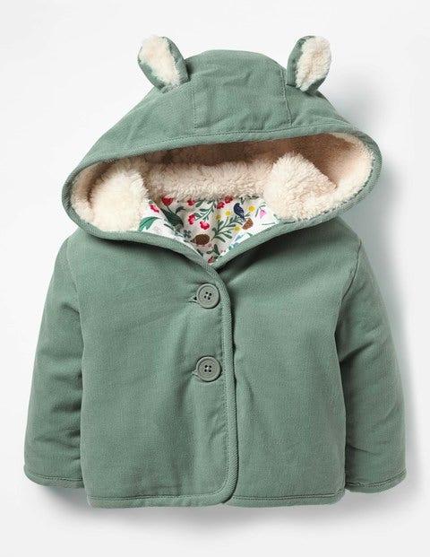 Woodland Animals Cord Jacket - Pixie Green