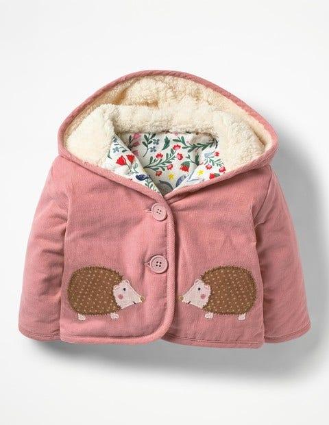 Woodland Animals Cord Jacket - Almond Blossom Pink Hedgehogs