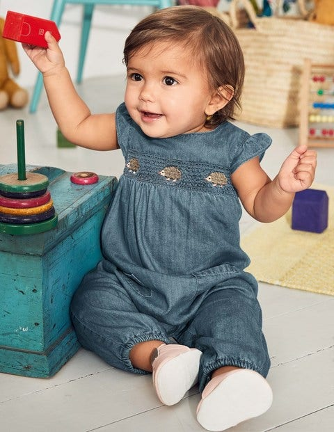 Hedgehog Friends Playsuit - Chambray Blue Hedgehogs