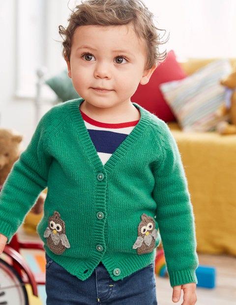 Crochet Characters Cardigan - Greenhouse Green Owl