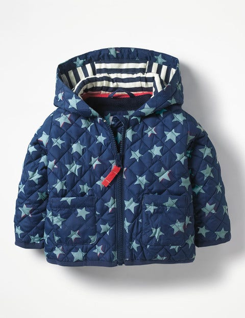 Starry Quilted Coat - Beacon Blue Shadow Star