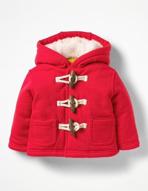 Shaggy-Lined Duffle Coat - Engine Red