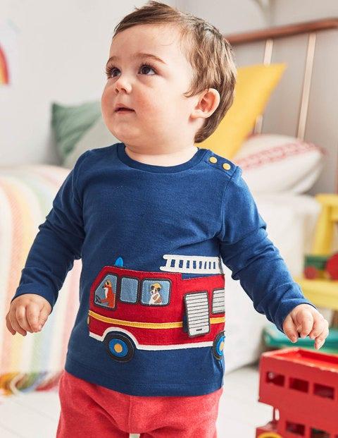 T-Shirt Appliqué Transport - Camion de pompiers bleu phare