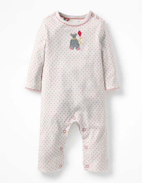 Teddy Appliqué Romper - Shell Pink Spot Teddy