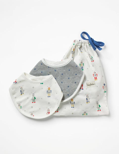 Image of 2 Pack Robot Dribble Bibs Multi Baby Boden, Multicouloured