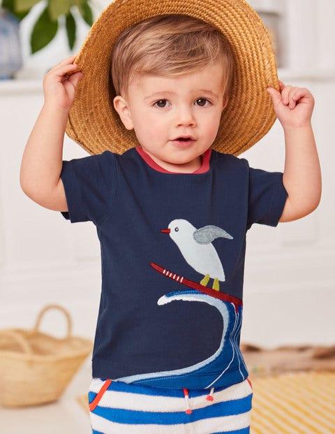 Appliqué Animal T-Shirt - Beacon Blue Surfing Seagull