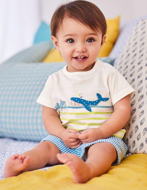 Seaside Appliqué T-Shirt - Zest/Camper Blue Whale