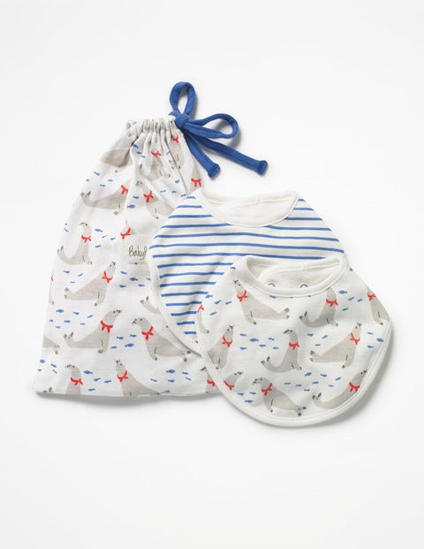 Image of 2 Pack Seals Dribble Bibs Ivory Baby Boden, Ivory