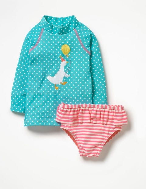 Rash Vest & Pants Set - Camper Blue Pin Spots