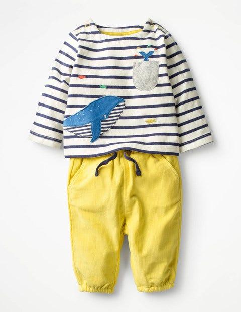 Fun Pocket Play Set Ecru/Beacon Blue Whale Baby Boden
