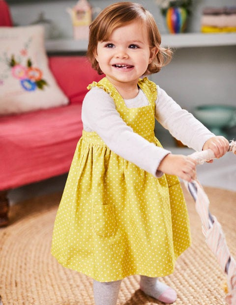 Ruffly Cord Pinafore - Sweetcorn Yellow Pin Spots