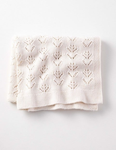 New Baby Knitted Blanket - Ecru