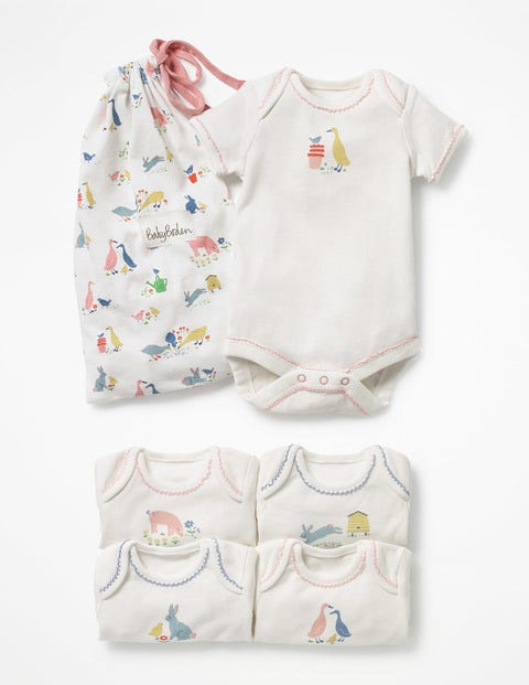Image of 5 Pack Farmyard Bodies Ivory Baby Boden, Ivory