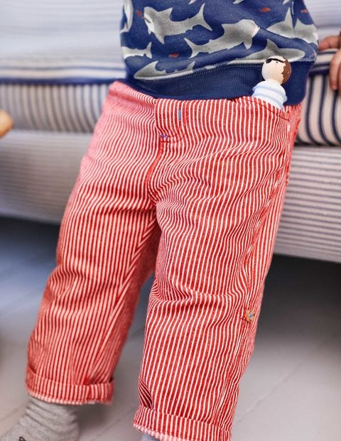 Roll-Up Trousers - Salsa Red Ticking Stripe