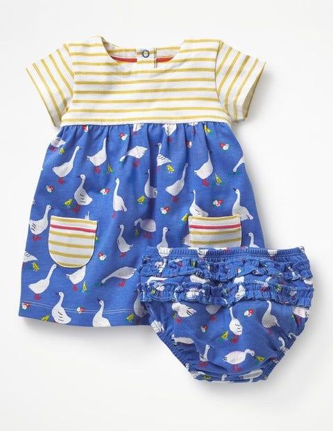 Hotchpotch Jersey Dress - Penzance Blue Spring Geese