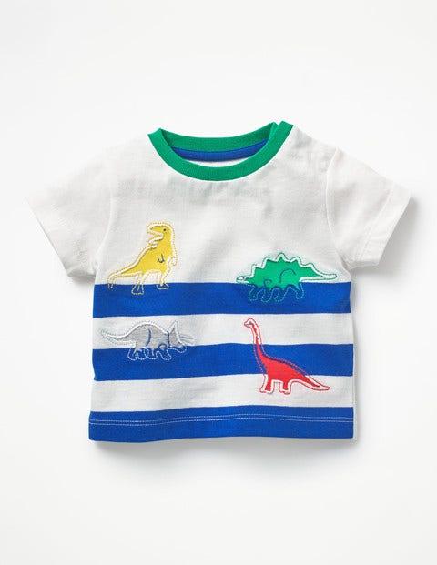 Reverse Appliqué T-Shirt - Ivory/Skipper Blue Dinosaurs