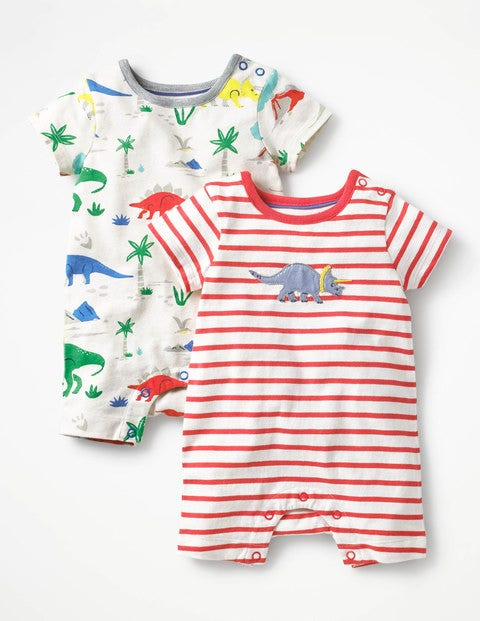 Twin Pack Dino Rompers - Multi Baby Dino