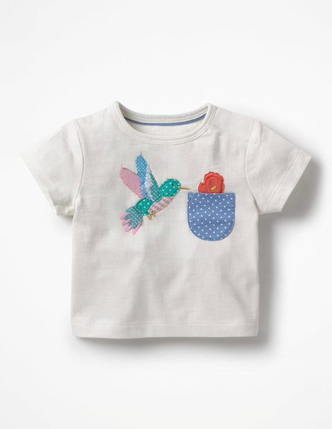 Appliqué Pocket T-Shirt - Ivory Hummingbird