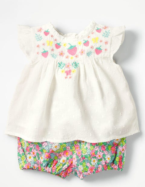Sunny Days Woven Play Set - Ivory Embroidery