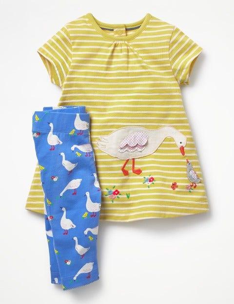 Appliqué Jersey Dress Set - Sweetcorn Yellow/Ecru Ducks