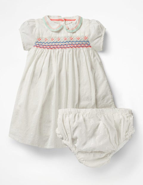 Kids 1950s Clothing & Costumes: Girls, Boys, Toddlers Collared Smock Dress Ivory Baby Boden Ivory £19.20 AT vintagedancer.com
