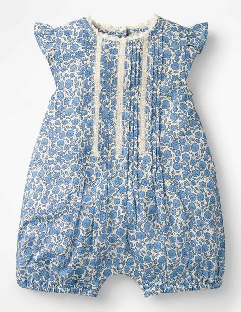 Kids 1950s Clothing & Costumes: Girls, Boys, Toddlers Pretty Woven Romper Blue Baby Boden Blue £14.40 AT vintagedancer.com