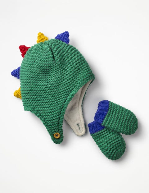 Image of Dinosaur Hat & Mittens Set Green Baby Boden, Green