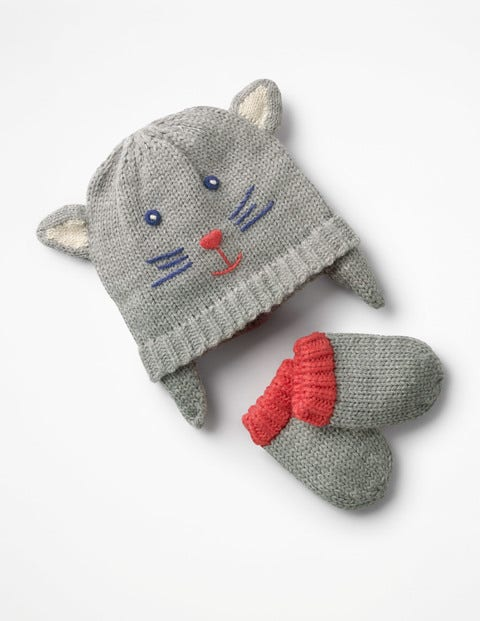 Image of Cat Hat & Mitten Set Grey Baby Boden, Grey