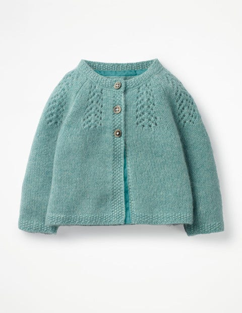 Pointelle Cashmere Cardigan - Aquamarine Green