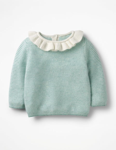 Frilly Cashmere Jumper - Aquamarine Green/Ecru