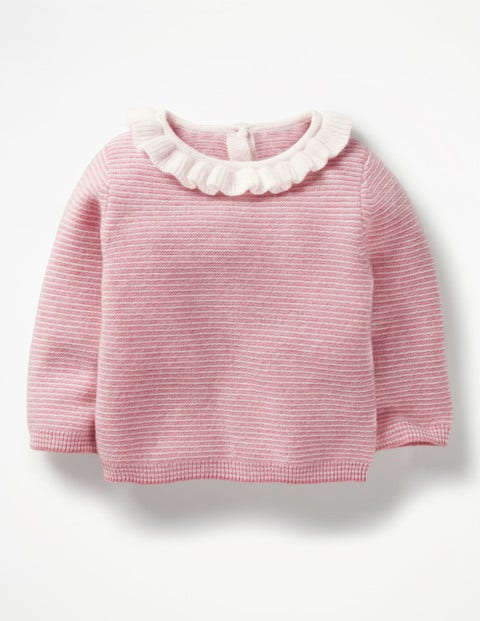 Frilly Cashmere Jumper - Cherry Cream Pink/Ecru