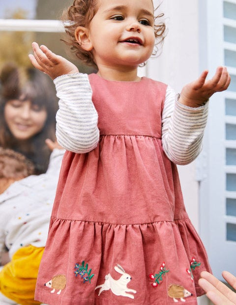 Tiered Corduroy Dress - Autumn Rose Pink Embroidery