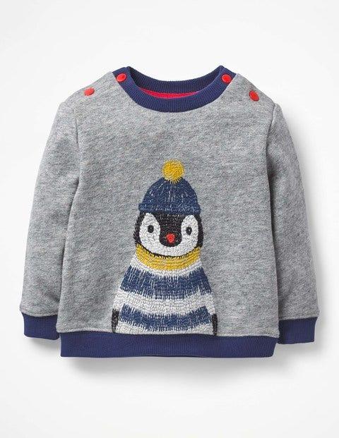 Cosy Textured Sweatshirt - Grey Marl Penguin