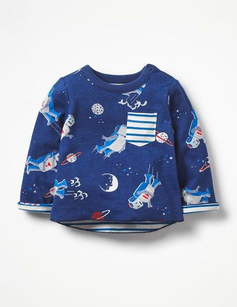 Fun Reversible T-Shirt - Beacon Blue Space Robots