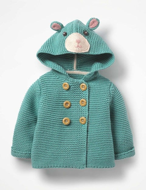 Fun Knitted Jacket - Aquamarine Green
