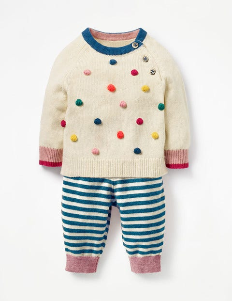 Fun Knitted Play Set - Ecru Multi Bobble