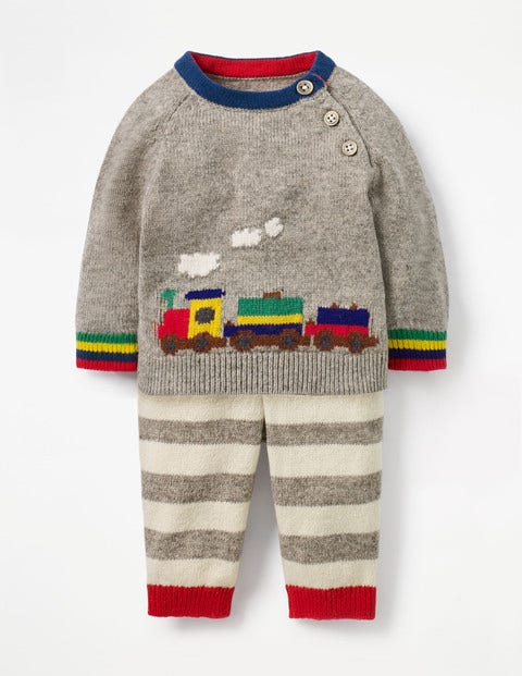 Colourful Knitted Play Set - Grey Marl Rainbow Train