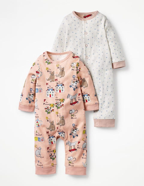 Twin Pack Pretty Rompers - Multi ABC