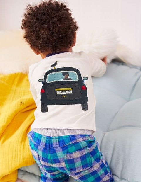 T-Shirt Appliqué Transport - Taxi écru