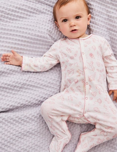 Pretty Printed Sleepsuit - Shell Pink Nursery