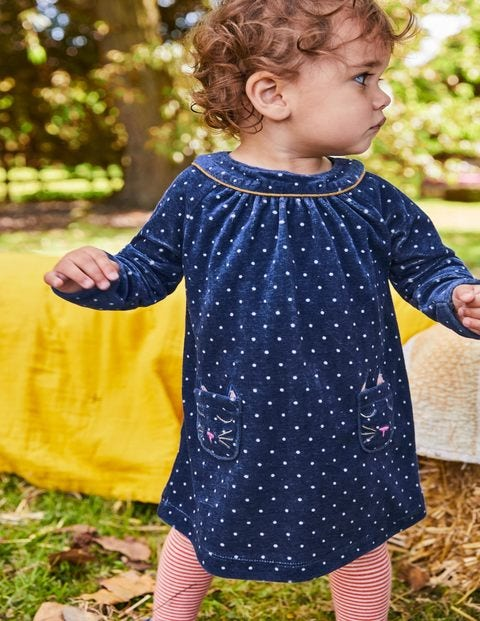 Fun Appliqué Velour Dress - Starboard Blue Spot