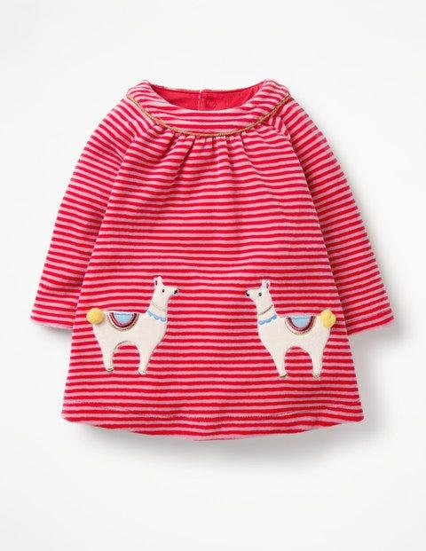 Fun Appliqué Velour Dress - Poppy Pink/Rosebud Pink