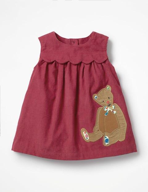 Kleid  Mit Applikationsfreunden - Brombeerrot, Teddy
