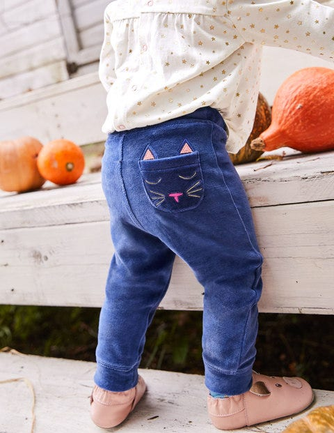 Pocket Pet Velour Trousers - Starboard Blue Cat