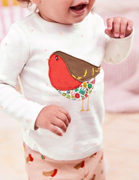 Snowy Friends Appliqué T-Shirt - Ecru Snow Spot Robin