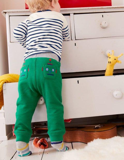 Novelty Appliqué Trousers - Watercress Green Robots