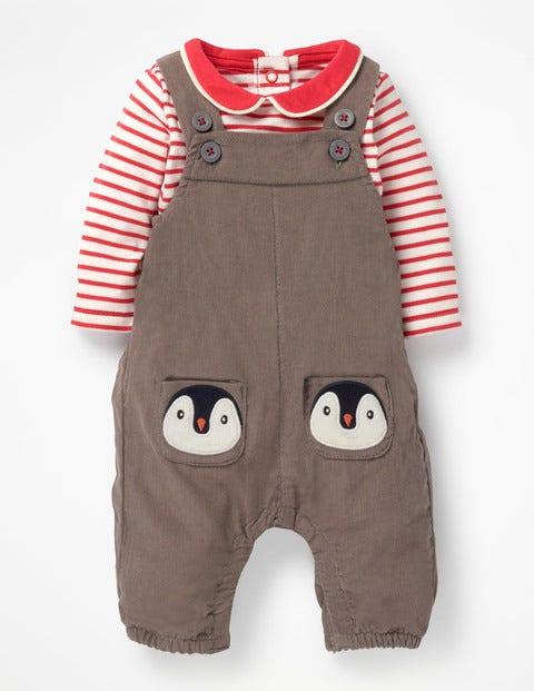 Boden Latzhosen-Set mit Taschenfreunden Brown Baby Boden braun |