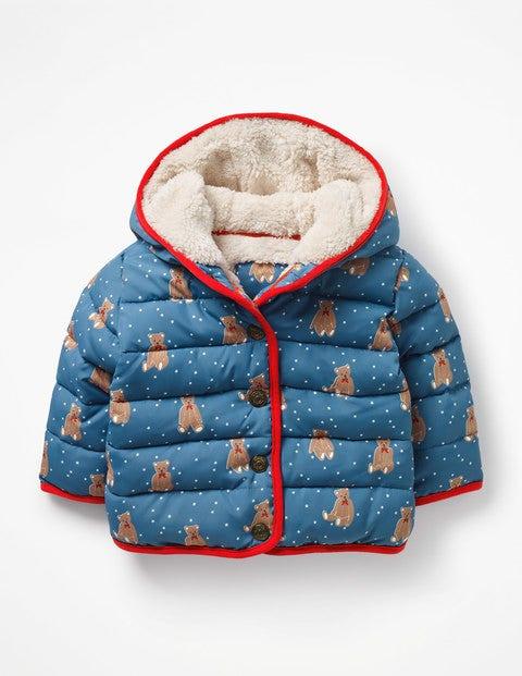 Printed Padded Coat - Azure Blue Baby Bears