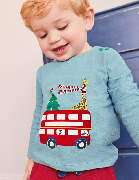 Festive Printed T-Shirt - Soft Bluebell Blue Bus