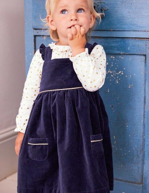 Velvet Pinafore Dress - Prussian Blue